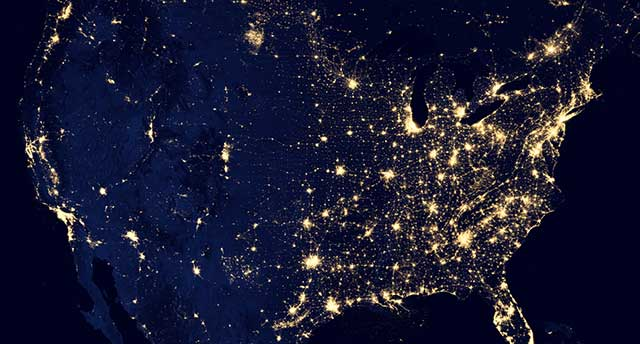 Satellite picture of lights in the USA at night