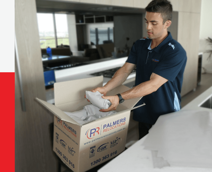 Mover Packing Items in a Palmers Relocations Carton