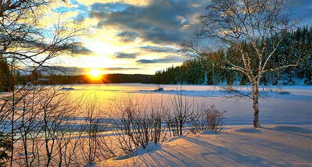 Sunrise in winter in Canada